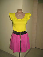 Платье двух-цветное с молнией, желтый, 44