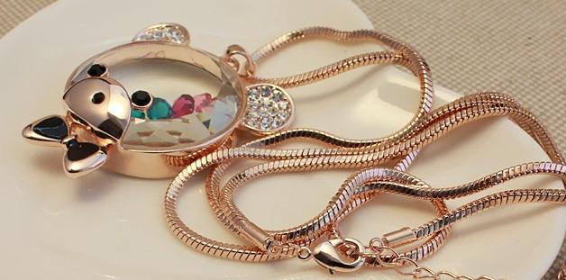 Кулон МИШКА ювелирная бижутерия золото 18К кристаллы Swarovski