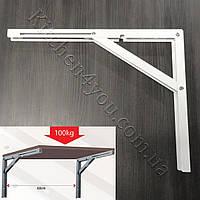 Консоль откидная 400 мм. белая, для раскладного стола., фото 1
