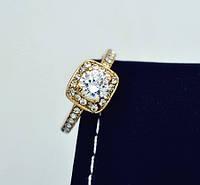Кольцо Королева позолота с цирконами размер 16