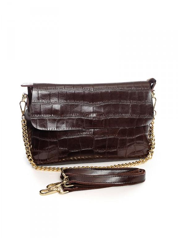 Женская кожаная сумка 30*21 см.Coffee