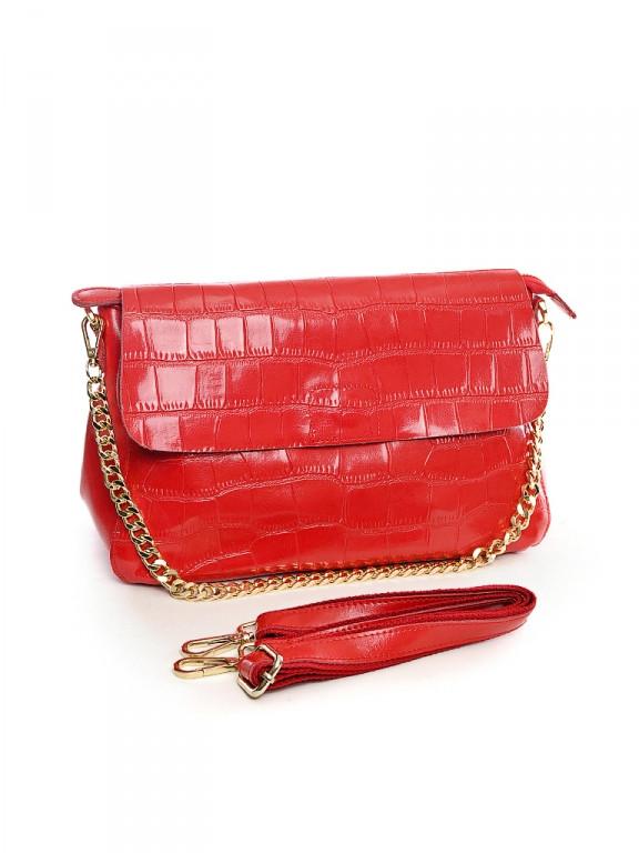 Женская кожаная сумка 30*21 см.Red
