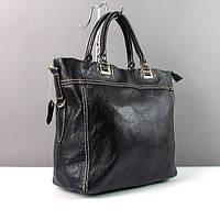 Кожаная черная сумка 1041 женская матовая деловая прямоугольной формы
