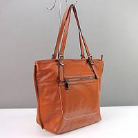 Рыжая кожаная женская сумка корзина на плечо 9250 gin, фото 1