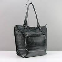 Черная сумка-корзина кожаная с регулируемыми ручками, фото 1