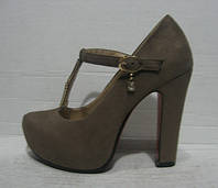 Туфли модные на устойчивом каблуке бежевые