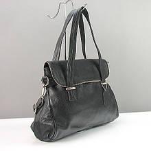 Шкіряна жіноча чорна сумка на плече шоппер з натуральної шкіри з довгими ручками