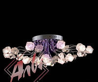 Люстра галогеновая на 16 лампочек с подсветкой и пультом управления для зала, спальни