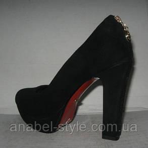 Туфли женские на устойчивом каблуке чёрные, фото 2