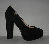 Туфли женские на толстом каблуке замшевые чёрные