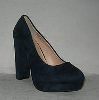 Туфли на каблуке замшевые синие