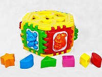 Логический шестигранник-сортер с геометрическими фигурами и животными