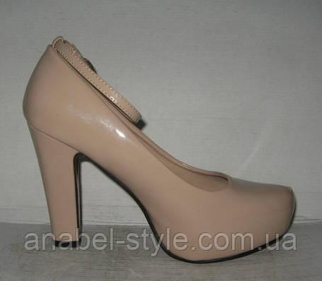 Туфли на каблуке с застёжкой бежевые, фото 2