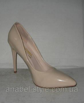 Туфли классические на шпильке бежевые, фото 2