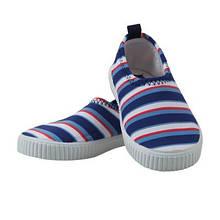 Обувь пляжные слипоны для мальчика, синие в оранжевую и белую  Archimede, Бельгия