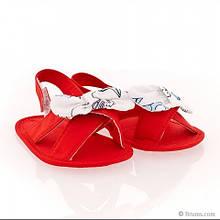 Обувь сандалики с белыми бантиками дев. красный 100 % хлопок 151BELP002 BRUMS, Италия 18(р)
