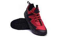 Мужские кроссовки Nike Huarache Utility Black Red черно-красные беговые