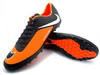 Футбольные сороконожки Nike HyperVenom Phelon TF Black/Orange/White, фото 1