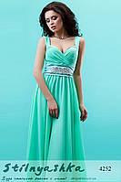 Красивое длинное платье ментол