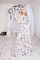 Красивый женский белый сарафан в пол с цветами