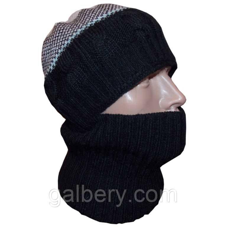 """Мужская вязаная шапка-шлем (утепленный вариант) по типу """"балаклавы"""""""