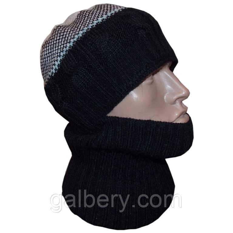 """Чоловіча в'язана шапка - шолом (утеплений варіант) за типом """"балаклави"""""""