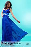 Красивое длинное платье индиго