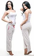 Пижама женская со штанами с принтом «Горох» P1320