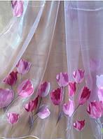 Тюль с тюльпанами