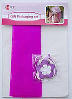 Набор для упаковки подарка, 40*55см, 2шт/уп., бело-розовый