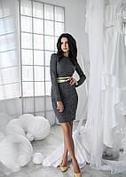 Платье женское короткое повседневное из шерсти с поясом P1324