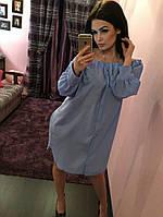 Женское платье-рубашка на резинке сверху