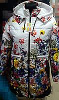 Куртка- парка для девочки подростка с цветочным принтом