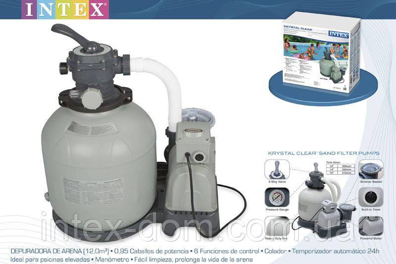 Песочный насос-фильтр для бассейнов Intex Sand Filter Pump 56672, 10000 л/час