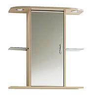 Шкаф навесной с зеркалом в ванную комнату + подсветка,  65х30 см, высота 70 см