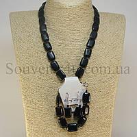 Комплект из чёрного агата (D:13х18мм)