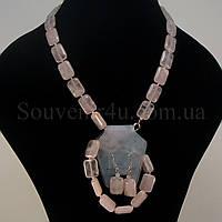 Комплект из розового кварца (D:13х18мм)