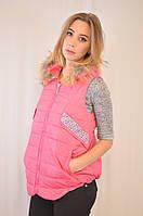 Красивая модная практичная стеганая жилетка с капюшоном. 42, розовый