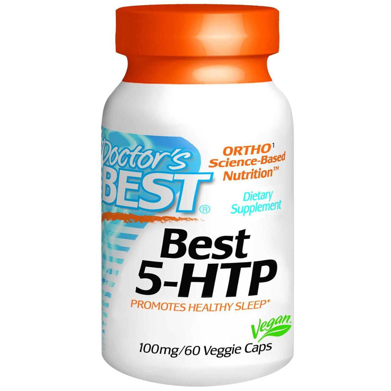 5-Гидрокситриптофан (5-HTP), Doctor's Best, 100 мг, 180 капсул. Сделано в США.