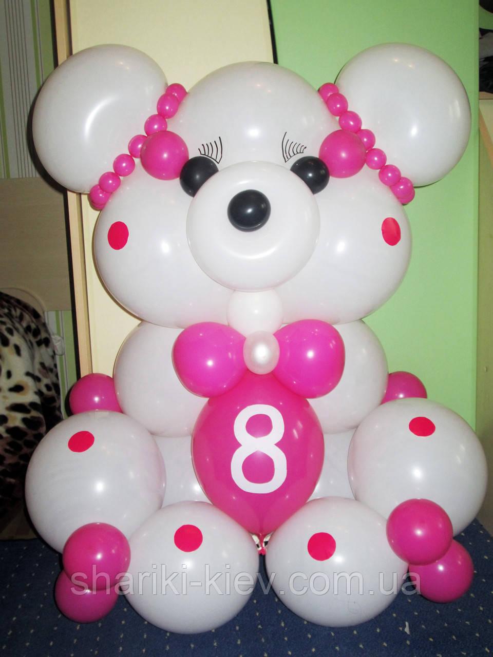 Большой Мишка Гвидо из шариков Белый с Розовым на День рождения Киев