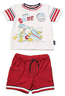 Верх лето комплект из 2-х ед комплект футболка+шорты Surf мал. красный с серыми полосками и белым воротником 1