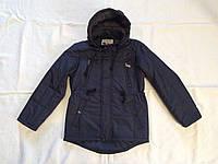 Куртка парка подростковая для мальчика 8-12 лет,темно синяя