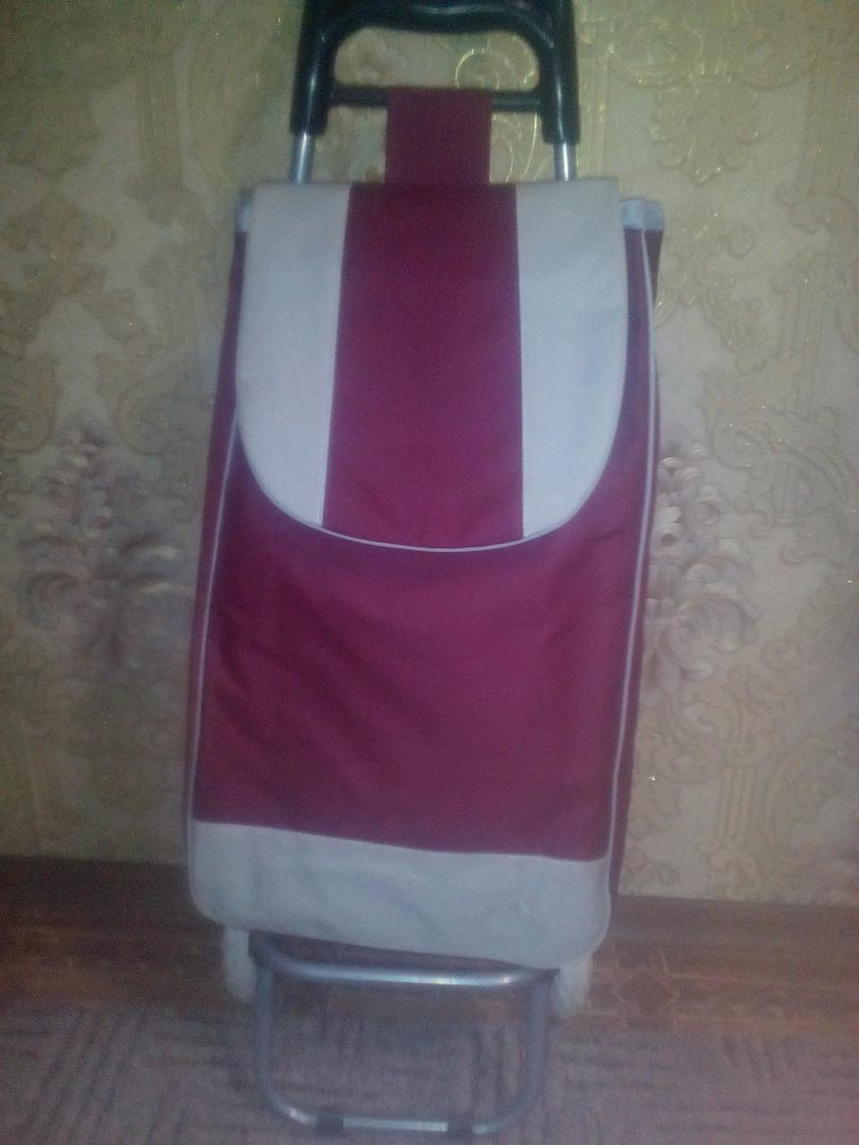 Тележка хозяйственная с прочной бордовой сумкой