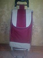 Тележка хозяйственная с прочной бордовой сумкой, фото 1