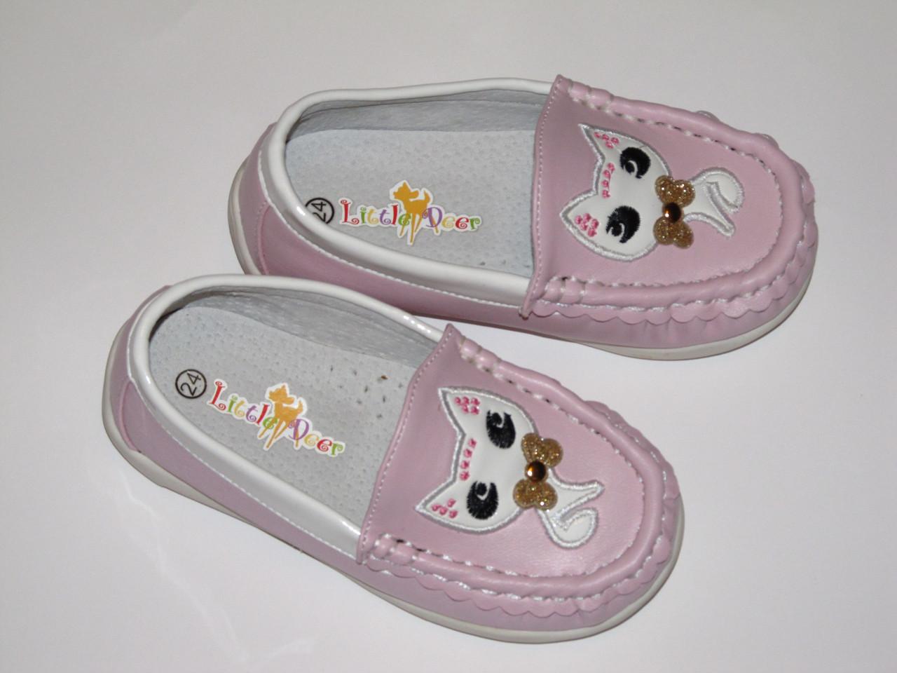 """Мокасины розовые для девочек """"Котик"""", B&G"""