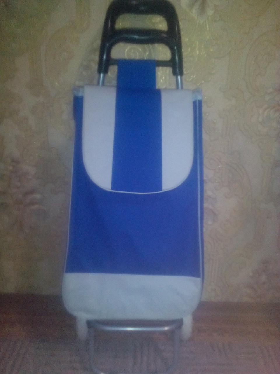 Тележка хозяйственная с прочной синей сумкой