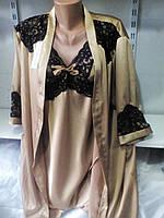 Женский нарядный шелковый комплект 42-48 рр