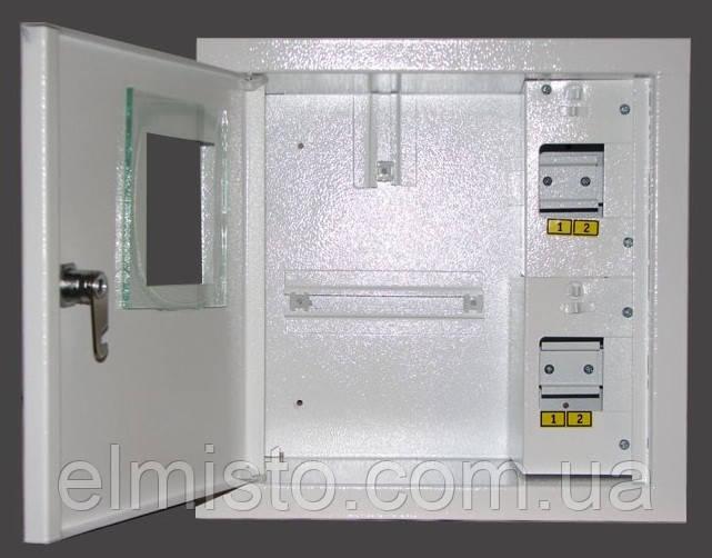 Щит ШМР-1ф-4А-Н е розподільчий металевий під 1ф. електронний лічильник і 4 авт. вимикачів навісний