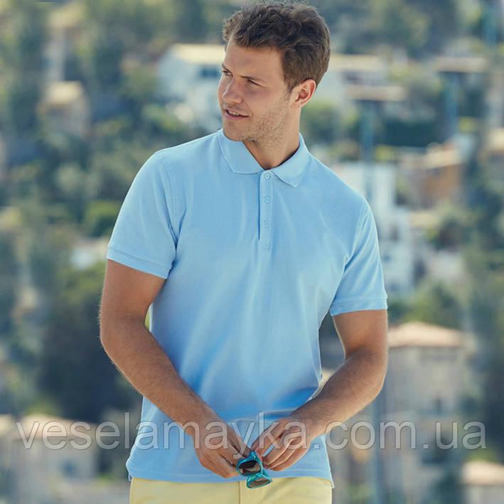 Блакитна чоловіча сорочка поло Premium