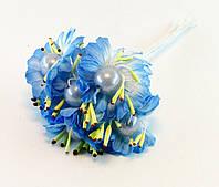 Искусственнй цветок голубой с жемчужиной